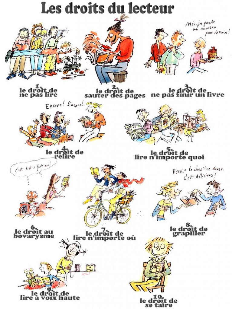 Les 10 droits du lecteur selon daniel pennac new kids on the geek - Mes devoirs et mes droits a la maison ...