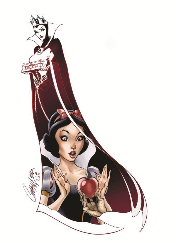 """Her Apple"" Blanche Neige de Disney vue par J Scott Campbell"