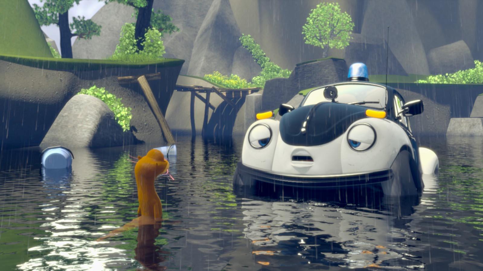 Ploddy - La voiture électrique mène l'enquête - Photo Ploddy et son amie la loutre